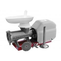 Picadora-embutidora eléctrica nº 32 sobre base metálica con cabezal tradicional de boca ovalada extra ancha tipo Niploy
