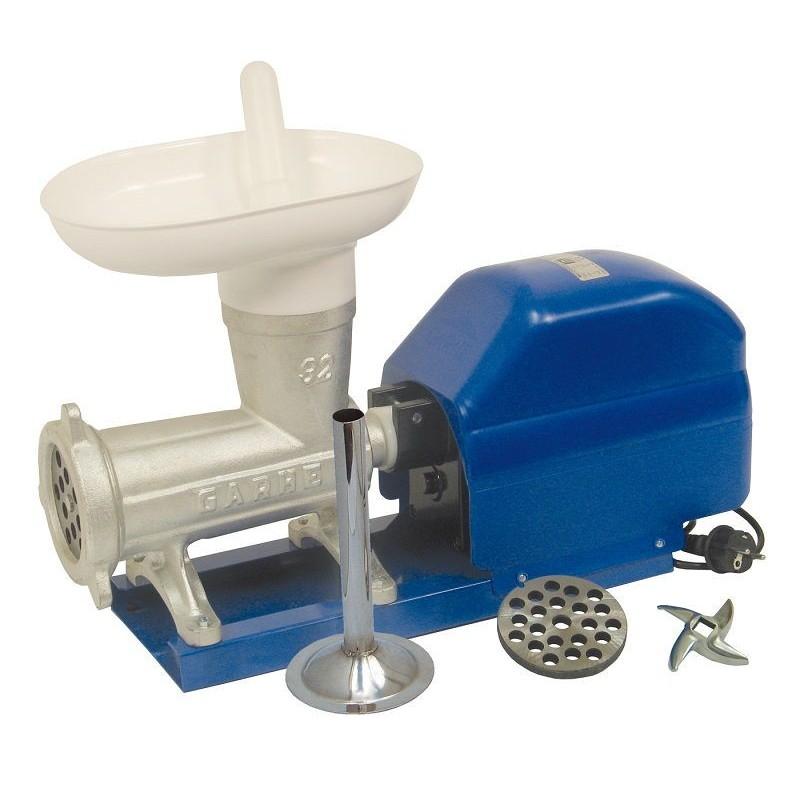 Picadora-embutidora eléctrica nº 32 sobre base metálica con cabezal tradicional de boca ovalada extra ancha.