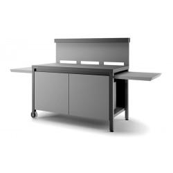 Mesa rodante para plancha de acero cerrada con paraviento en negro y gris claro mate de Forge Adour