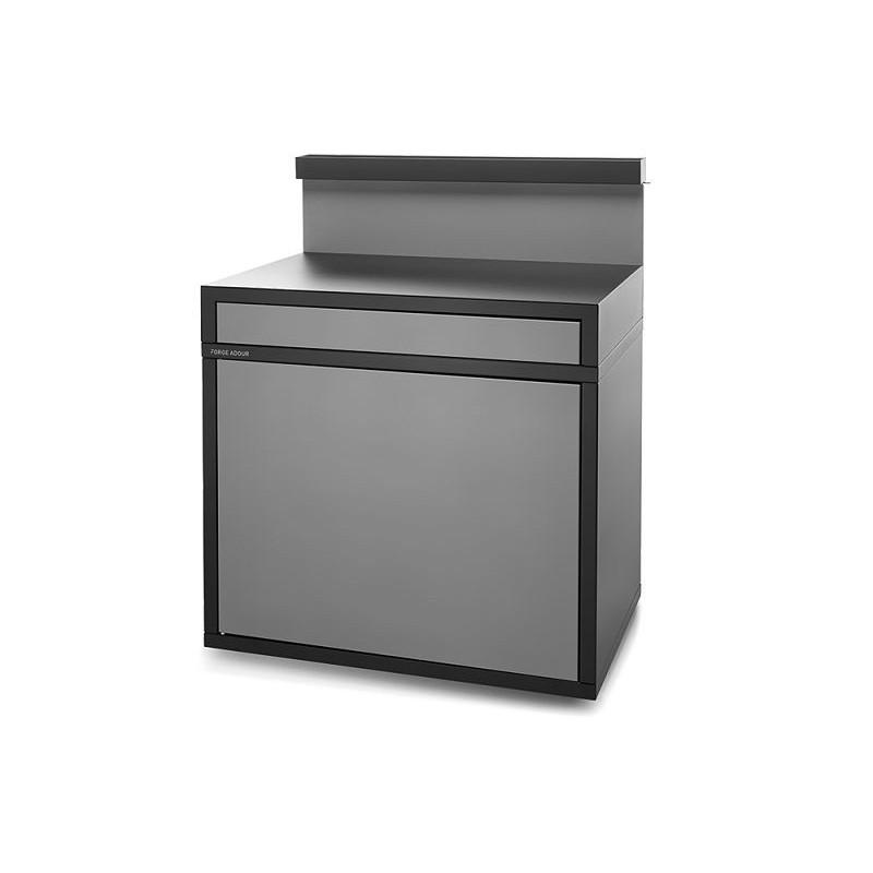 Soporte servicio cerrado para plancha de acero en negro y gris claro mate de Forge Adour