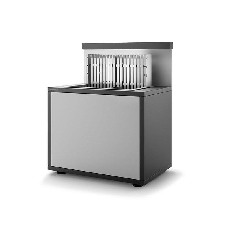 Soporte grill cerrado de acero 56 en negro y gris claro mate de Forge Adour