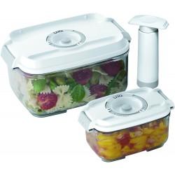 2 envases de 0,5 y 1 litro para la conservación al vacío de alimentos Laica VT3302 en tritán