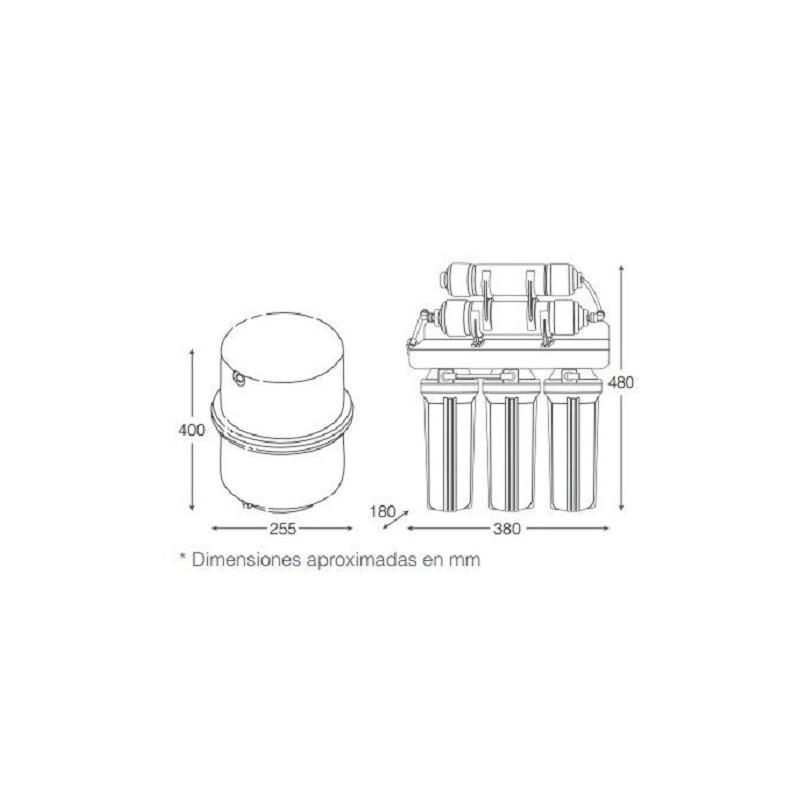 Equipo domestico Osmosis Inversa 5 Etapas con bomba