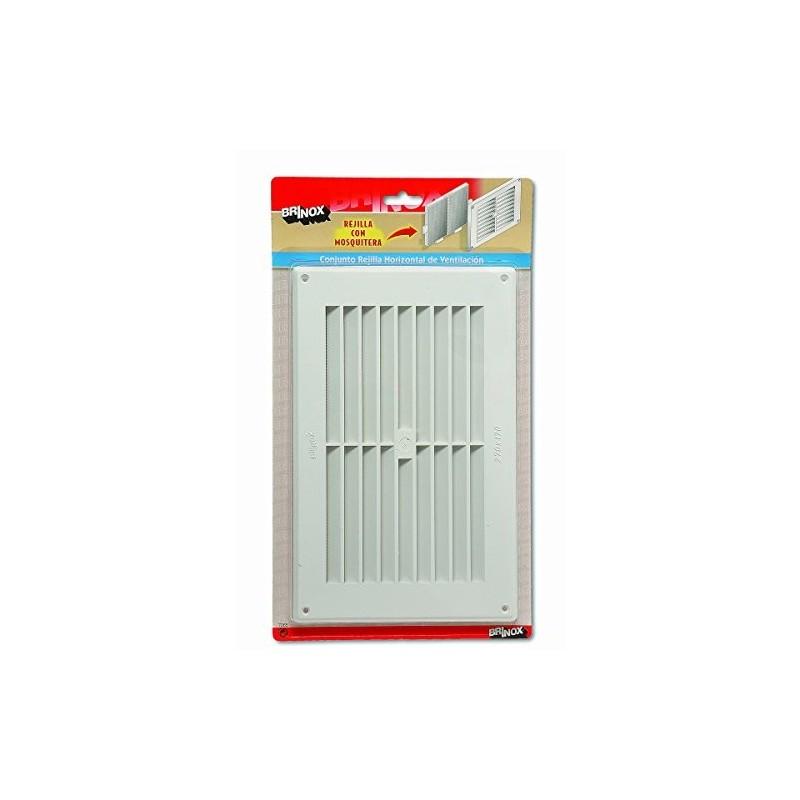 Rejilla horizontal con mosquitera (Mediana 17 x 27 cm) color blanco